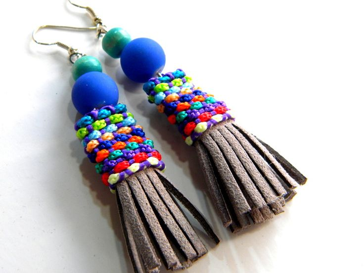 bohemian handmade earrings with grey leather fringes