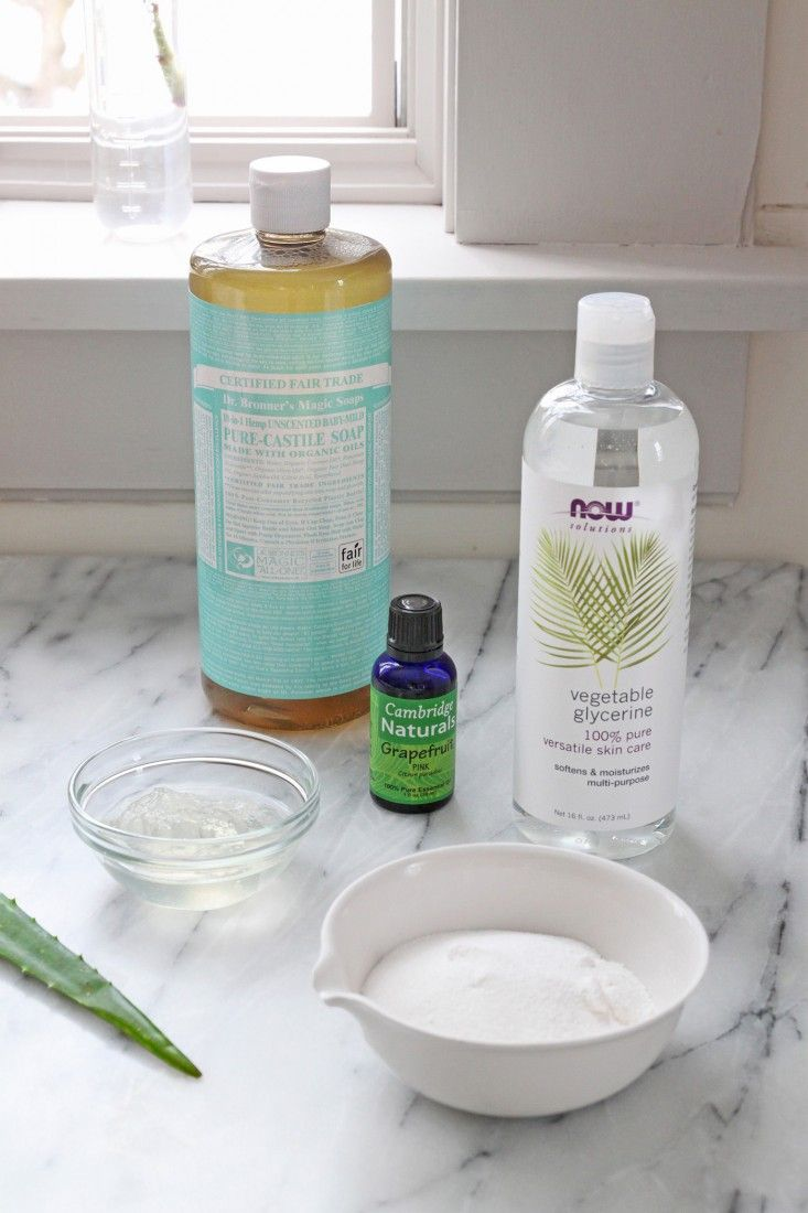 Homemade Dish Soap (1.25c boiled water, .67c unscented castile soap, 1T aloe gel, 1.5t washing soda, 1t vegetable glycerin, 20 drops essential oil ) | Remodelista