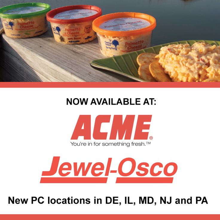 We are happy to announce the addition of ACME Markets and Jewel-Osco to the  Palmetto Cheese distribution network. This adds new locations to DE, IL,  MD, ...