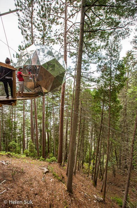 Head off the beaten path in Quebec and you'll discover Parc Aventures Cap Jaseux, an ecotourism adventure centre with unique accommodations like this suspended sphere in the forest.