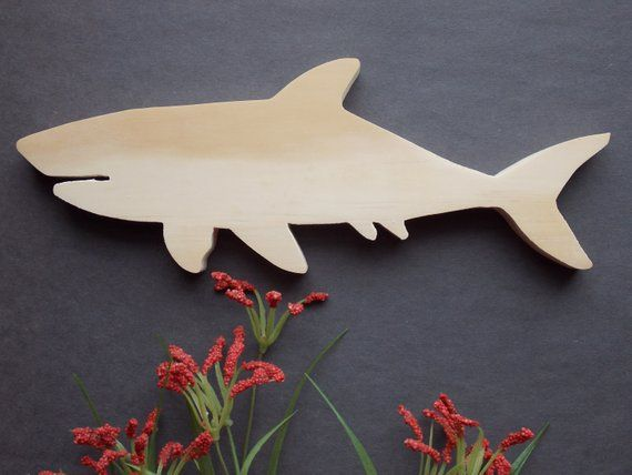 Wooden MDF Shark shape Sea Creatures Sharks embellishment Shark Craft shape