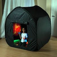 Sensory Dens Dark dens are ideal for creating environments where sensory equipment and toys can be used without the need for a dedicated sensory room. They are also ideal for use at home or in a muti-use room, to explore UV lights, glow in the dark items, fibre optics and projectors.