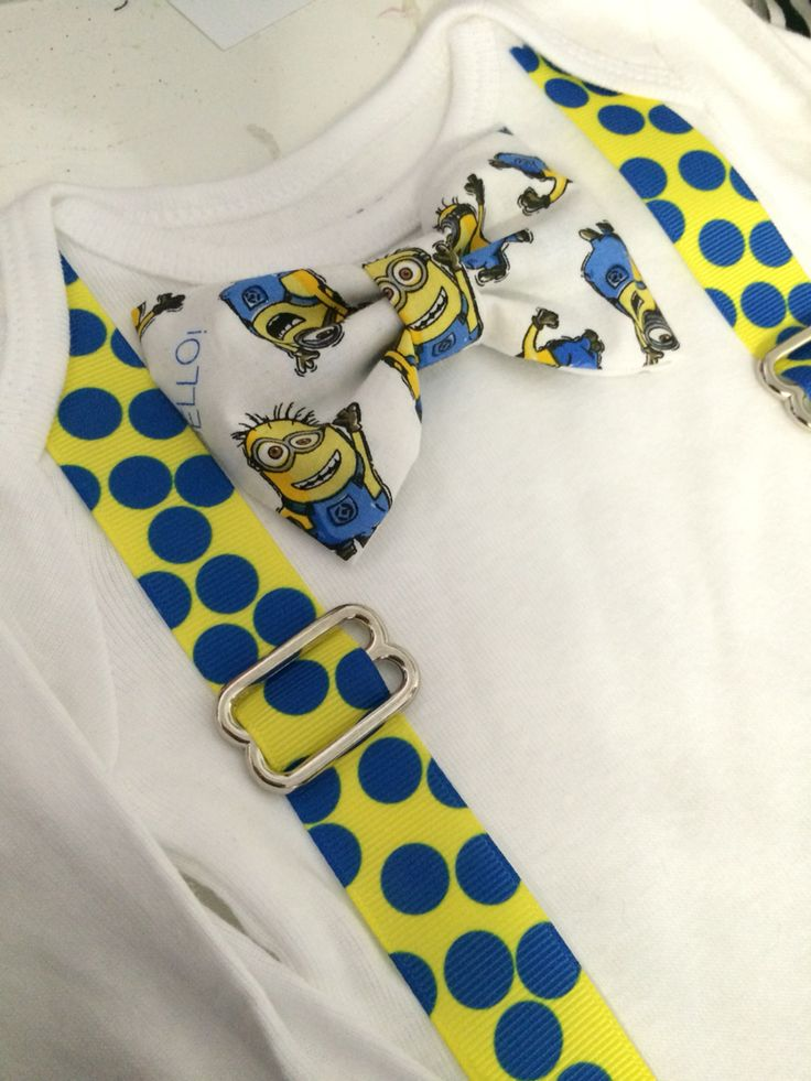minion onesie / shirt bowtie and suspenders perfect for birthdays, for that minion fan.  Minion birthday outfit ideas  Visit: www.etsy.com/shop/cutiebowboutique