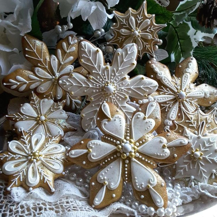 Golden snowflakes by Teri Pringle Wood