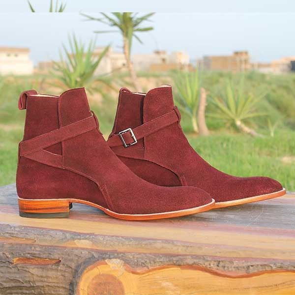 New Handmade jodhpurs ankle boot, Men Maroon ankle high suede leather boot, Mens - Boots