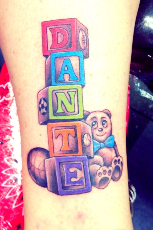 My son's name with baby blocks Tattoo @ Lucky Rabbit Tattoo Modesto Ca