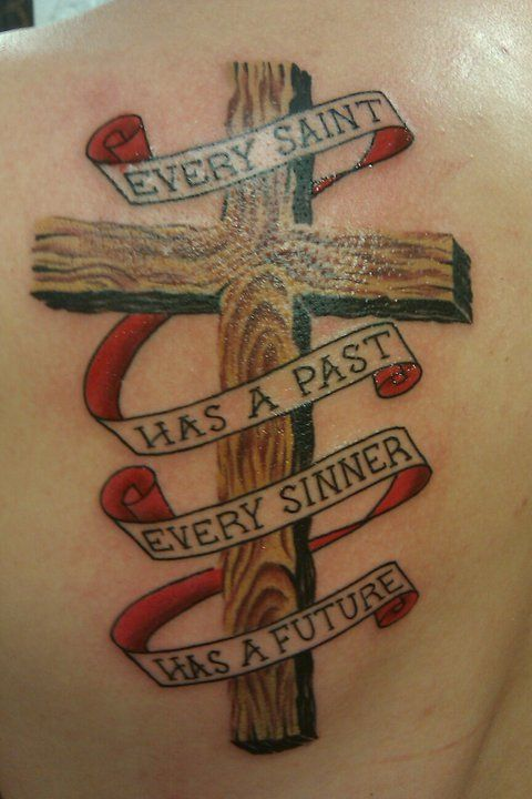 Wooden Cross Tattoos with Banners | image reblogged from http://www.tattoounet.tumblr.com
