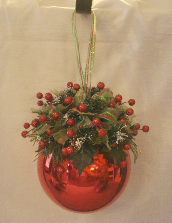 Red Christmas Kissing Ball with Greenery & Red Berries