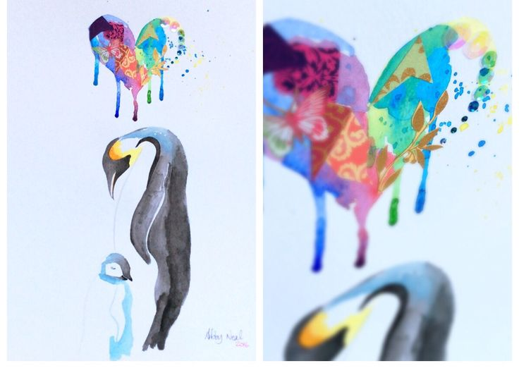 Something for Mothers' Day - 6th March. Watercolour mother and baby penguin under a mixed-media heart.   http://www.facebook.com/abbynealart