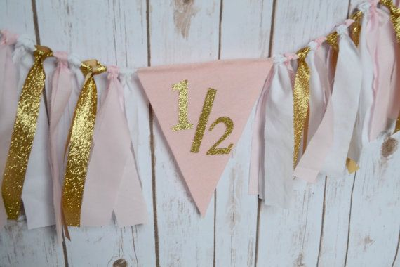 Half Birthday GOLD Party Banner   Gold Birthday by BannersAway