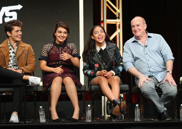 Gregg Sulkin, Ariela Barer, Allegra Acosta and executive producer Jeph Loeb speak onstage during Summer TCA at The Beverly Hilton Hotel on July 27, 2017 in Beverly Hills, California. - Summer TCA