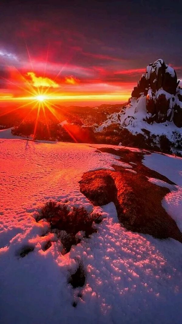 AMAZING WINTER SUNSET SCENERY #snow red yellow mountain