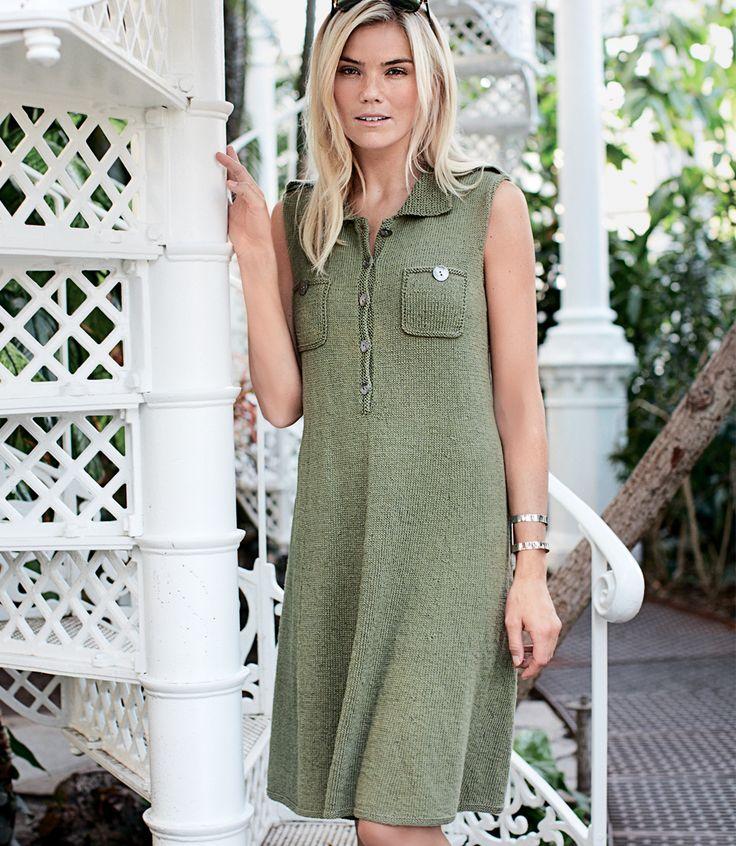 Платье-рубашка с погонами - схема вязания спицами. Вяжем Платья на Verena.ru