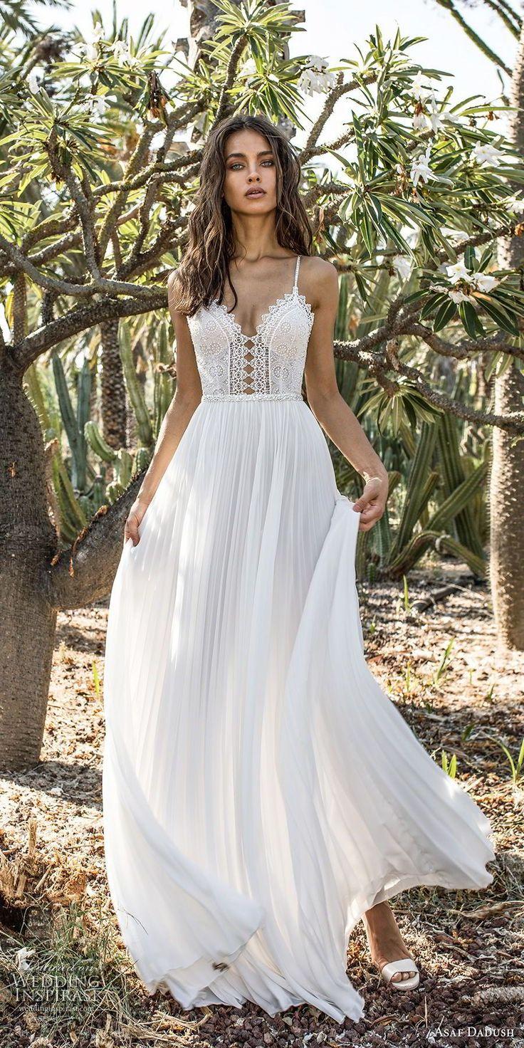asaf dadush 2018 bridal spaghetti strap sweetheart neckline closely embellished …
