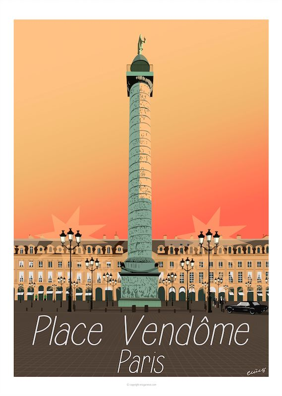 New Parisian Opus : Place Vendôme Its column, its jewelers, its green plug… and especially its two most famous burglars Bonnie & Clyde with their V8 Black Ford Mustang Fastback 1965, inte…