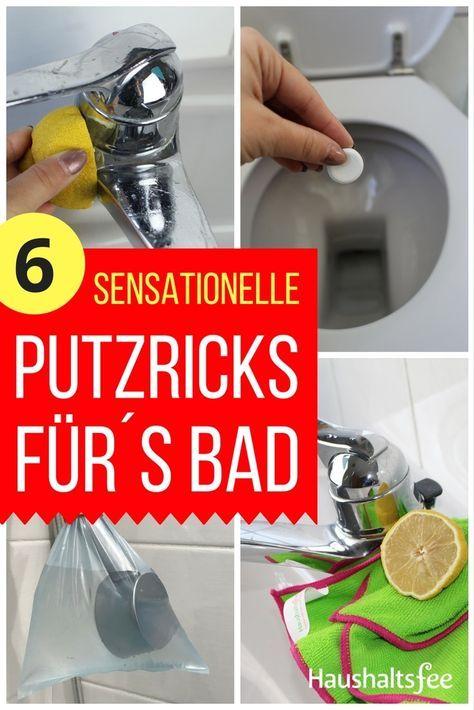 Tolle Tipps, um Zeit beim Badputzen zu sparen: Toilette, Armaturen, Dusche, Badewanne etc. mit Essig und Hausmitteln reinigen.