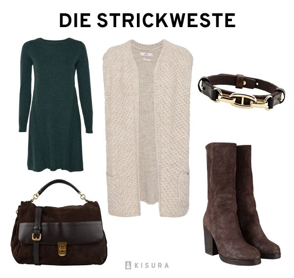 Beige Strickweste, grünes Strickkleid, Armband, braune Stiefel, braune Tasche // fawn knitted vest, green knitted dress, bracelet, brown boots, brown bag