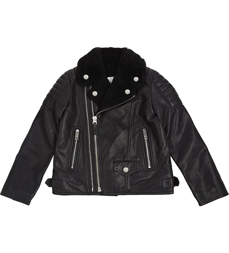 BURBERRY - Mini Barnton leather biker jacket 8-14 years   Selfridges.com