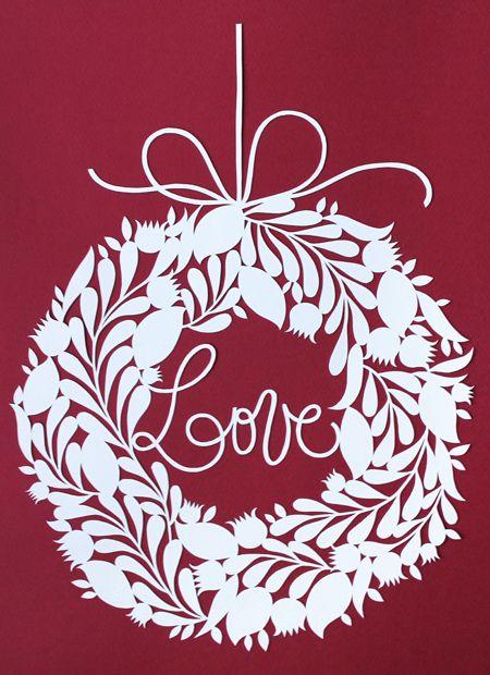 white wreath papercut