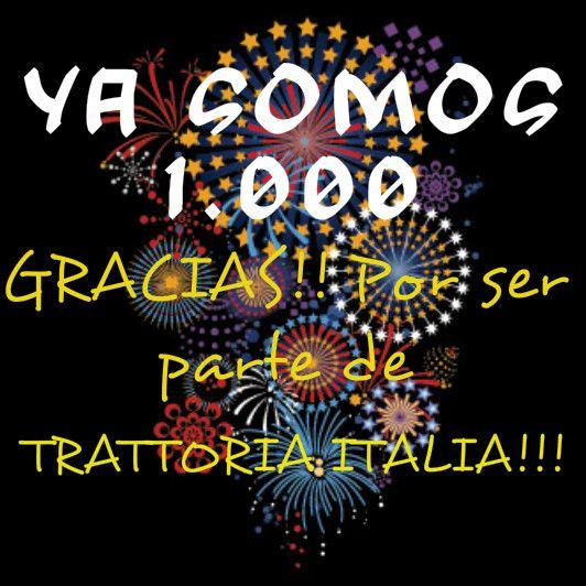 Ya somos 1.000 en nuestra página de facebook! Gracias por ser parte de nuestra familia Trattoria Italia!!