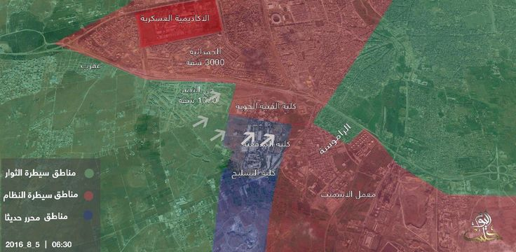 If map is true, then opposition groups are very close to breaking siege of opposition-held Aleppo, Syria