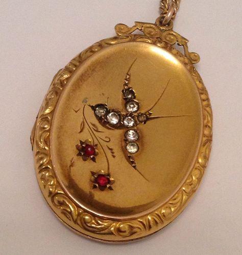 Fine Victorian 9ct Gold B F Paste Set Lovebird Hinged Locket 9ct Gold Chain | eBay