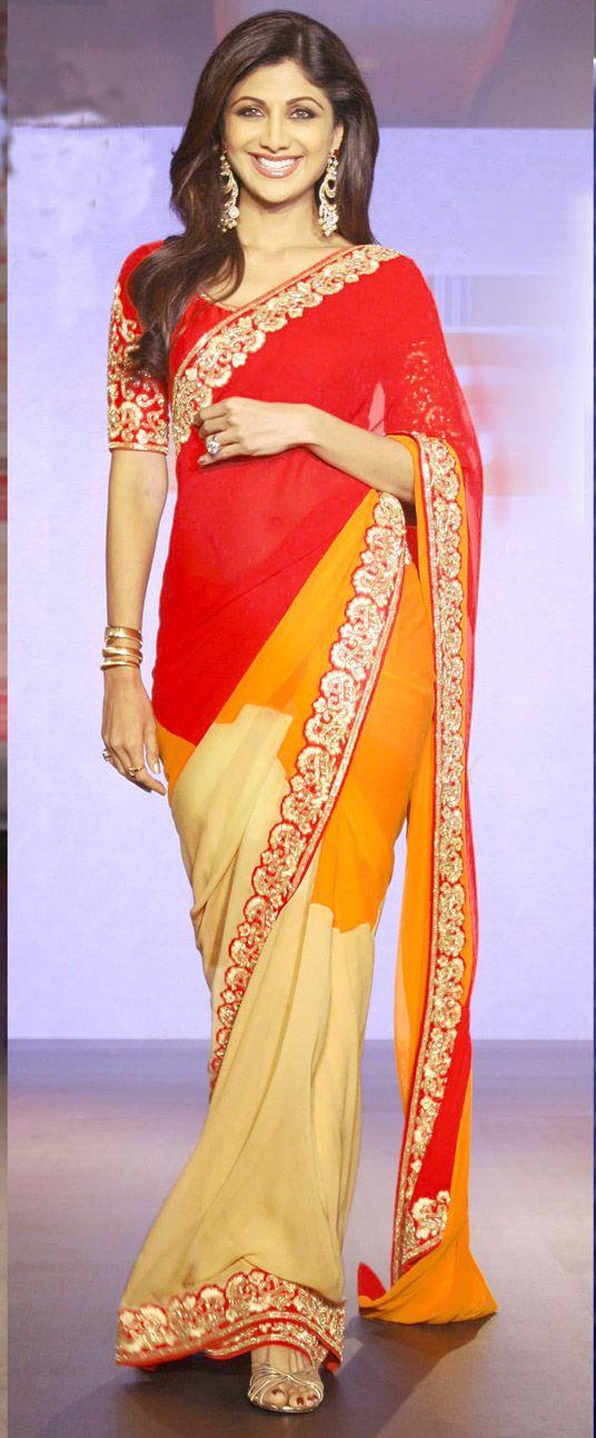 USD 51.94 Red Chiffon Bollywood Saree 44223