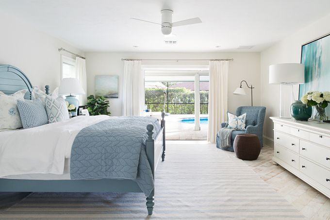 blue and white bedroom | Lischkoff Design Planning