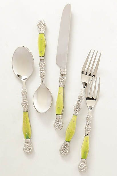 Resplendent Flatware Mix and Match #Anthropologie #Pintowin Outdoor decorating ideas Bright colors and calming neutrals Red, Orange, Blue, Green, Yellow, White & Grey
