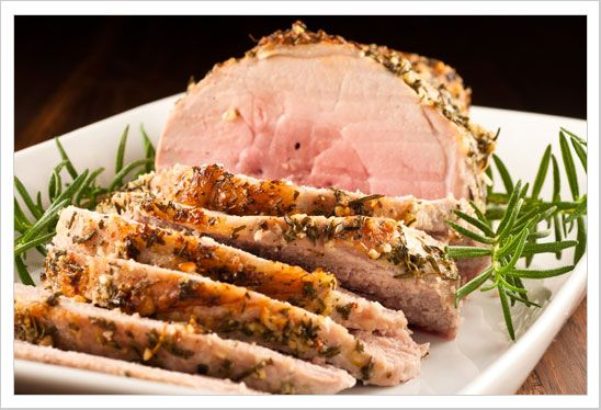 Garlic-Herb Crusted Boneless Pork Sirloin Roast: This tender and juicy boneless pork roast is coated in a delicious rub made with extra virgin olive oil, garlic and fresh herbs.