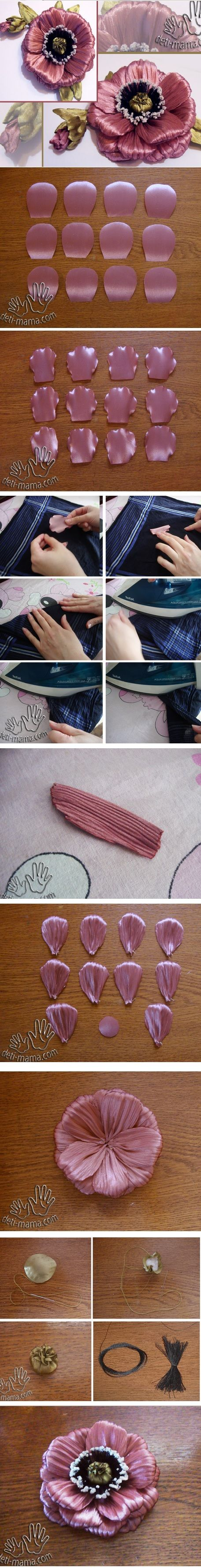 Crinkled petal ribbon flower. Idea - use crepe paper instead! :)