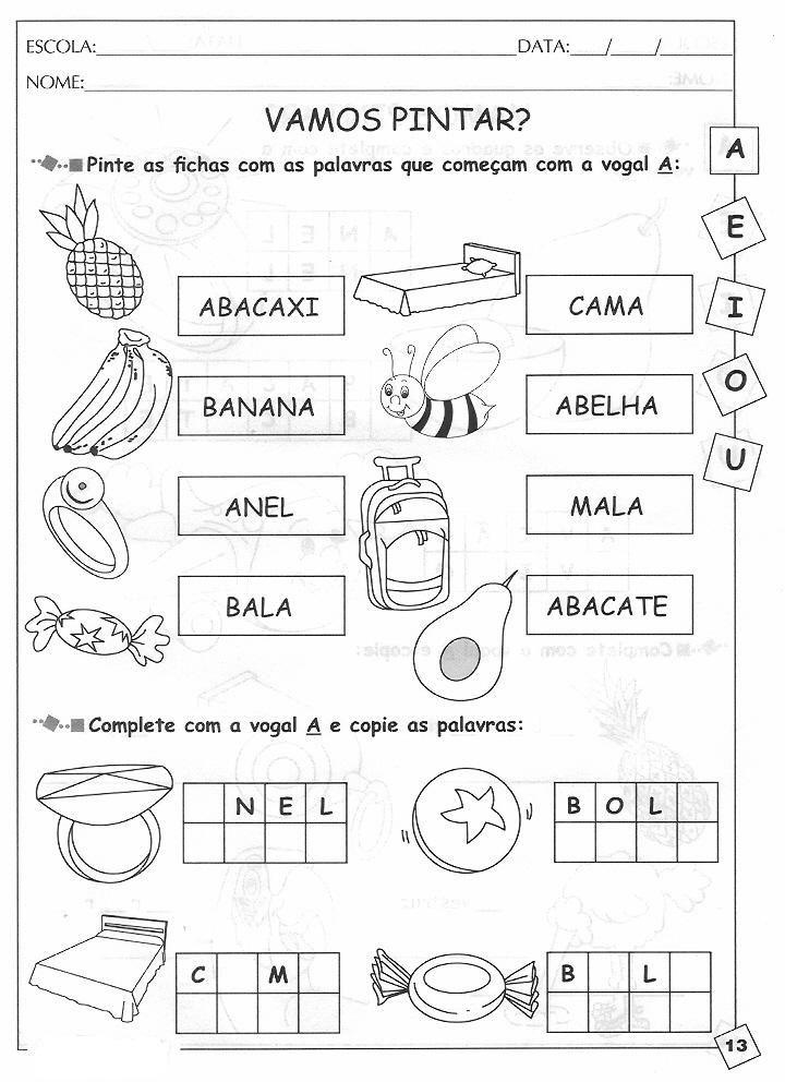 Alfabetização silábica letra A