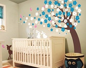 Cherry Blossom Tree with fawn and bunnies :  Nursery Kids Removable Wall Vinyl Decal. $92.00, via Etsy.