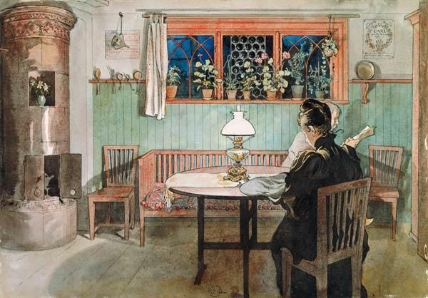 Carl Larsson - When the Children have Gone to Bed, from 'A Home' series