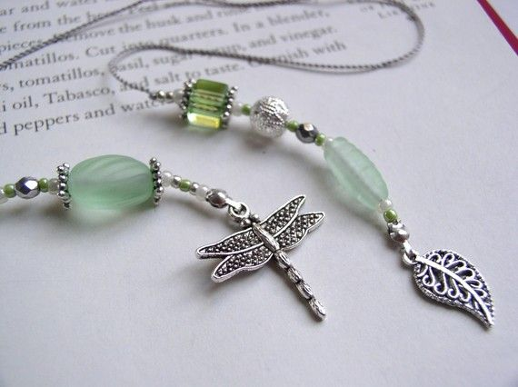 Dragonfly & green glass beaded book thong.