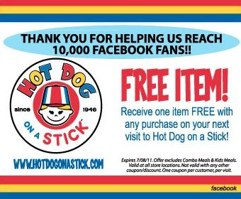 Free Hot Dog On A Stick Coupon