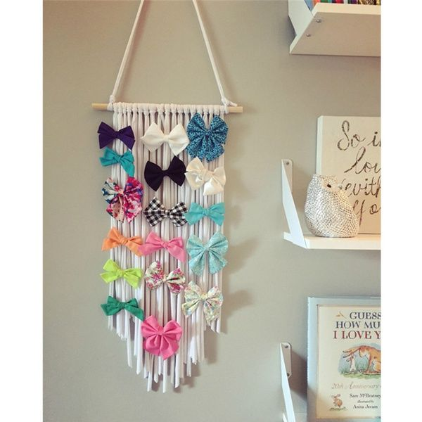 Hair Accessories Wall Hanging For Children S Bedroom In 2020 Diy Hair Bow Holder Hair Clip Holder Diy Hair Bow Organizer