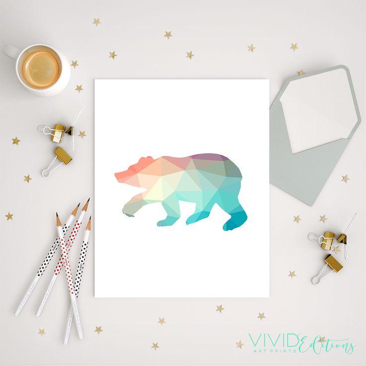 Mint + Coral Geometric Poly Bear