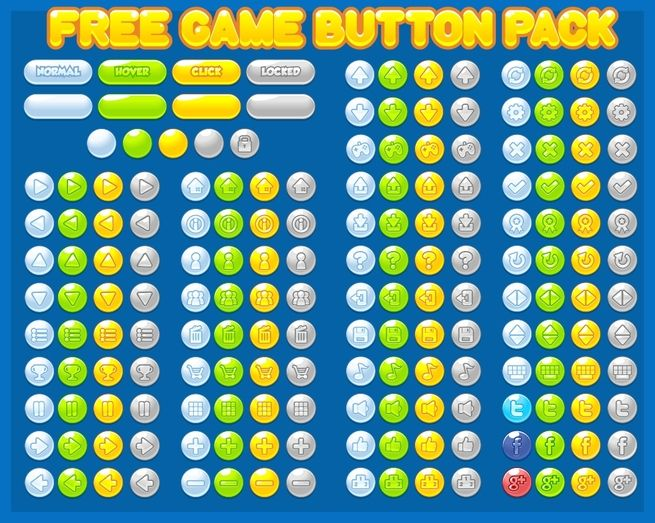 Free casual game button pack. #game #assets #free #ui #gui #interface #cartoon #vector #sprite