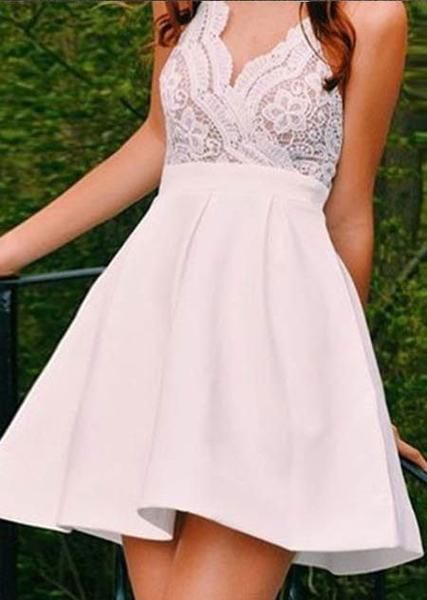 A-line princess Spaghetti Strap Homecoming Dresses AHC00050