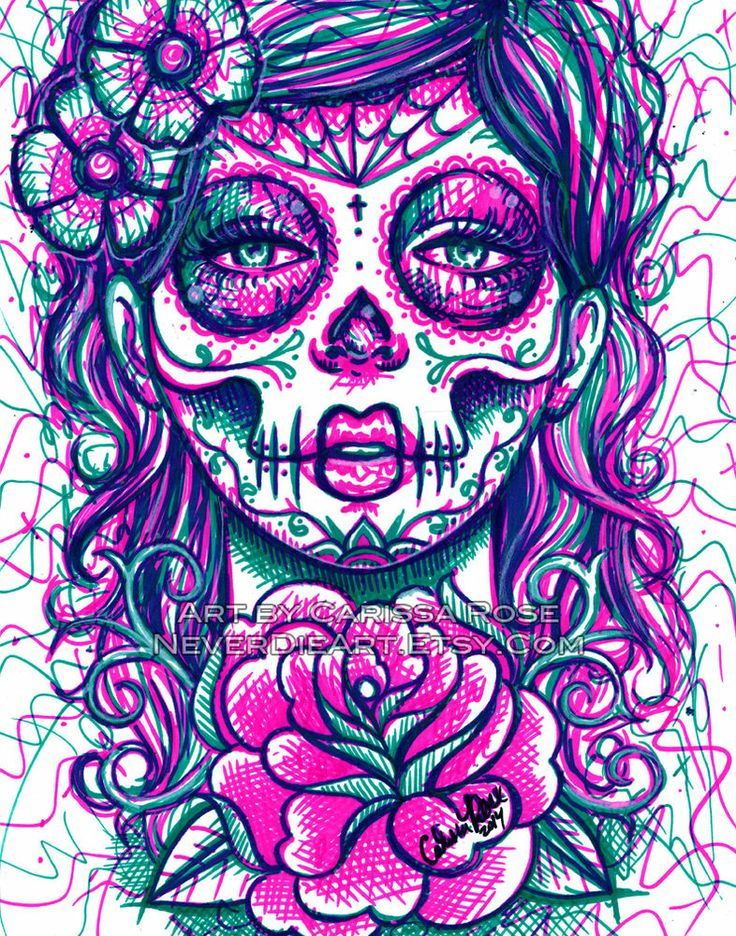 tattoo art day of the dead girl flash sugar skull signed