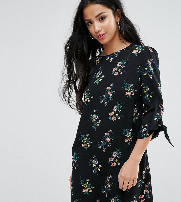 Miss Selfridge Petite Floral Tie Sleeve Mini Dress - Multi