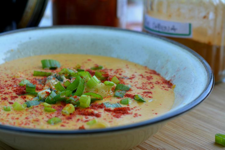Delicious Bbq Pumpkin Soup. Smoky with a touch of cream cheese & ciboulette!