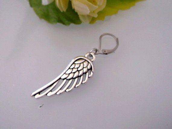 One Angel Wing earring Metal wing earring Silver wing earring men