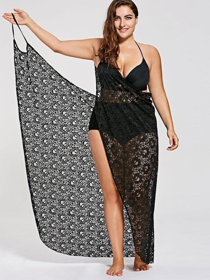 Plus Size Lace Cover Up Wrap Dress - BLACK 3XL
