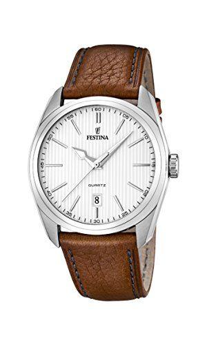 University Sports Press  F16777/1 - Reloj de cuarzo para hombre, con correa de cuero, color marrón #relojes #festina
