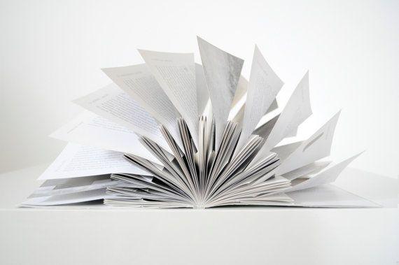 Folded book sculpture  Minimalist art  Decorative by Emblematical #paperart #foldedbook #bookscultpure #minimalist