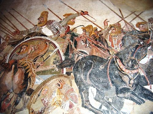 Detail of the Alexander Mosaic depicting the Battle of Issus between Alexander the Great & Darius III of Persia, from the House of the Faun in Pompeii. Now in MANN.
