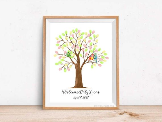 birds family baby shower sign in book thumb print tree baby shower guest book alternative