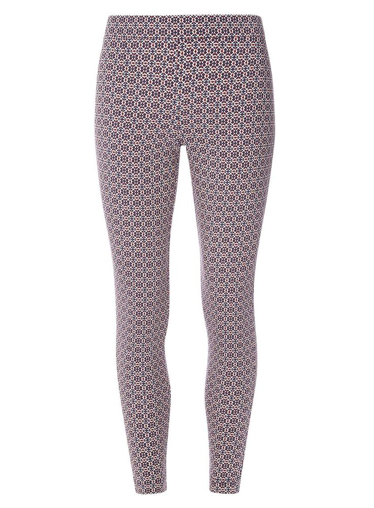 Womens Multi-Coloured Tile Print Skinny Stretch Trousers- Blue
